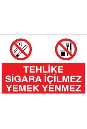 Canis Etiket Tehlike Sigara Içilmez Yemek Yenmez Sticker - Folyo