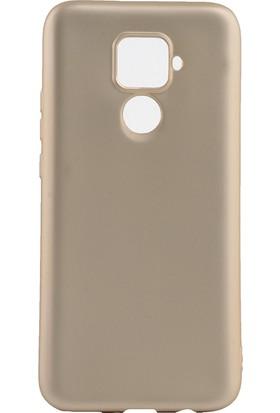 KNY Huawei Mate 30 Lite Kılıf Ultra İnce Mat Silikon + Cam Ekran Koruyucu Gold