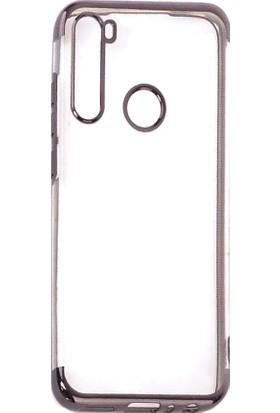 KNY Xiaomi Redmi Note 8 Kılıf 4 Köşe Renkli Şeffaf Laser Silikon + Cam Ekran Koruyucu Siyah