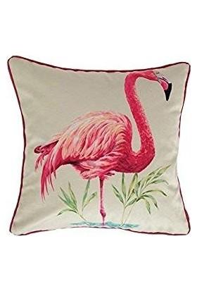 Mcalister Textiles Flamingo Yastık Kılıfı | Pembe Geometrik Kadife Dokuma Kumaş Kare Dekoratif Kırlent 43 x 43 cm