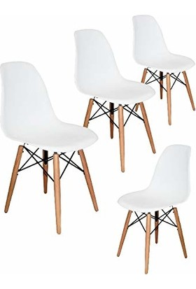 Mezura Ofis Eames Sandalye Beyaz 4'lü