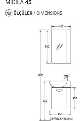 Biani Fix Midila 45 cm Parlak Beyaz Banyo Dolabı