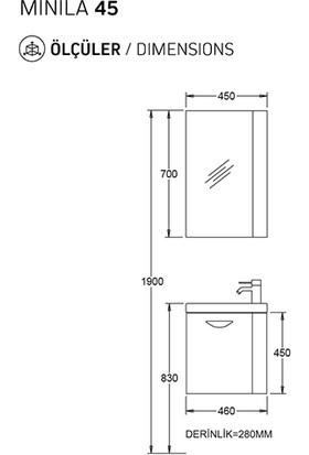 Biani Fix Minila 45 cm Parlak Beyaz Banyo Dolabı