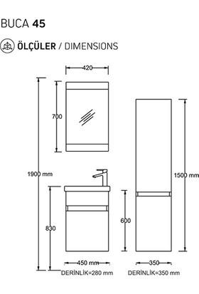 Biani Fix Buca 45 cm Parlak Beyaz Banyo Dolabı