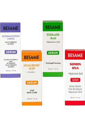 Besame Besame 4'lü Mega Set Somon DNA - Glikoli Asit - Hyaluronik Asit - Cilt Beyazlatıcı Serum