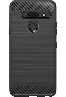Microcase LG G8 ThinQ Brushed Carbon Fiber Silikon Kılıf - Siyah