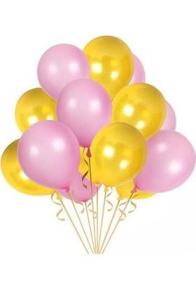 Balon Metalik Sedefli Kaliteli Balon Pembe Sarı 100 Adet