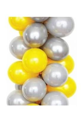 Balon Metalik Sedefli Kaliteli Balon 50 Gümüş 50 Sarı 100 Adet