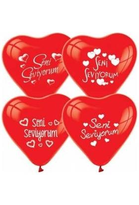 Balon Seni Seviyorum 100 Adet Baskılı Kırmızı Kalp Balon