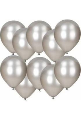 Balon Metalik Sedefli Kaliteli Balon Gümüş Sarı 50 Adet