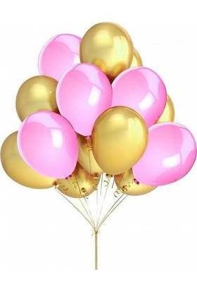 Balon Metalik Sedefli 50 Adet Kaliteli Balon 25 Pembe 25 Altın