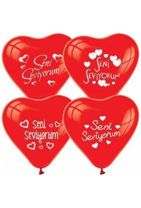 Balon Seni Seviyorum Baskılı Kırmızı Kalp Balon 25 Adet