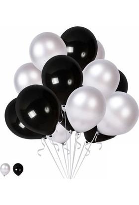 Balon Metalik Sedefli Uçan Balon Gümüş - Siyah Karışık Balon 100 Adet