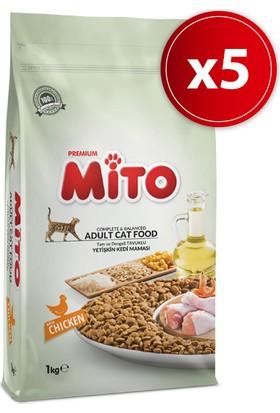 Mito Adult Cat Tavuklu Yetişkin Kedi Maması 1 kg X 5 Adet