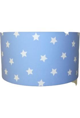 İnka Mavi Üzeri Beyaz Yıldız Bebek Odası Çocuk Odası Avize