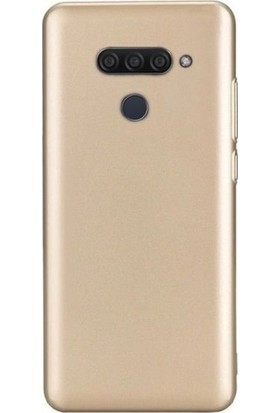 Tekno Grup LG Q60 Kılıf Mat Premium Silikon Kılıf - Gold + Cam Ekran Koruyucu