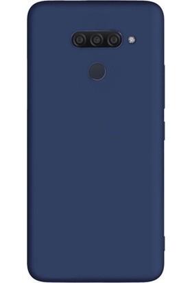 Tekno Grup LG Q60 Kılıf Mat Premium Silikon Kılıf - Lacivert + Cam Ekran Koruyucu