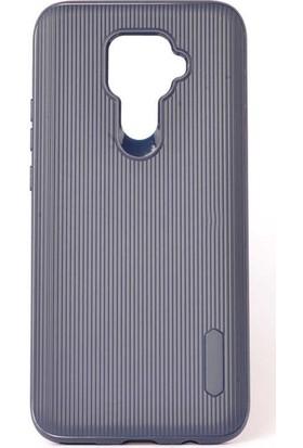 Tekno Grup Huawei Mate 30 Lite Kılıf Mat Silikon Çizgili Tio Arka Kapak Silikon - Lacivert + Nano Ekran Koruyucu