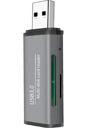 Ally ADS-105 USB SD/TF Hafıza Kart Okuyucu - Gri