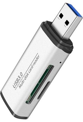 Ally ADS-105 USB SD/TF Hafıza Kart Okuyucu - Gümüş