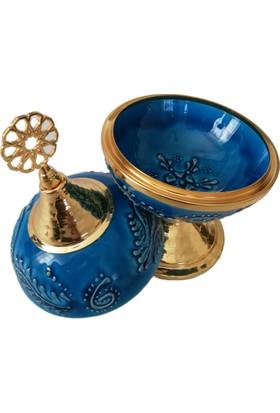 Evanilife 1 Adet 13 cm Mavi Renk 2 Parça Çini Işlemeli Şekerlik