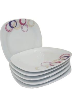 Güral Porselen 18 cm Ebatlarında Gala 01 Model 6 Adet Pasta Tabağı Takımı