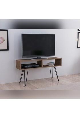 Doffo Lake Tv Ünitesi Masif Ahşap Metal Ayak Tv Sehpası