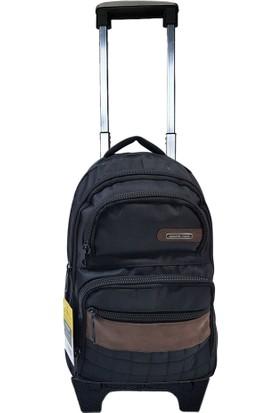 Entegre Çekçekli Sırt Çantası 3 Fermuarlı 15,6 inch 45L Okul Seyahat 761 Siyah