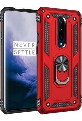 Ehr. One Plus 7 Pro Çift Katmanlı Yüzüklü Standlı Manyetik Doom Kılıf Kılıf + Tam Kaplayan Cam Kırmızı