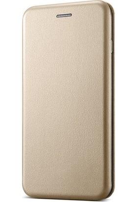 Prolysus Nokia 3.1 Plus Kılıf Kapaklı Cüzdan Kılıf Altın Dore