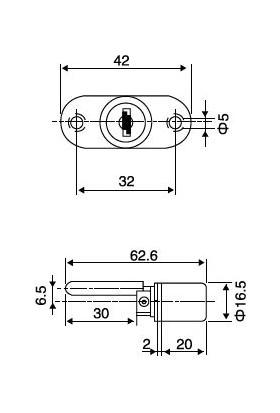 Merkezi Çekmece Kilidi 16 mm