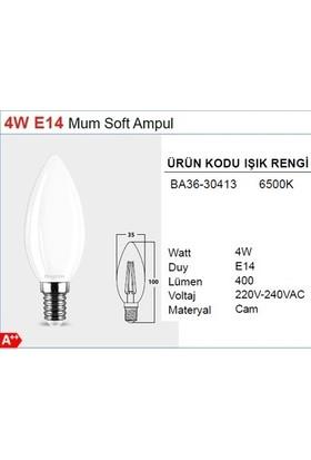 Braytron Buji Ince Duylu LED Ampul Cam 4 W E-14 6500K Beyaz Işık Braytron - BA36-30410