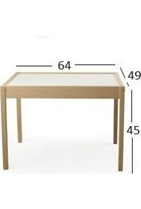 Picaline Ahşap Çocuk Oyun Masası ve Sandalyeleri 1 Masa 2 Sandalye
