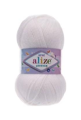 Alize Bebe Şekerim 55 Beyaz Tüylü Bebek Yünü