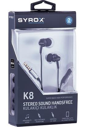 Syrox K8 Mikrofonlu Kulakiçi Kulaklık Siyah