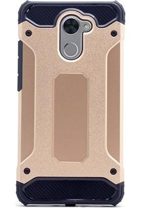 Kaltel Gsm Huawei Y7 Prime Ultra Lüx Çift Katmanlı Darbe Emici Crash Kılıf + Full Kaplayan Tam Ekran Koruyucu Gold