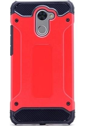 Kaltel Gsm Huawei Y7 Prime Ultra Lüx Çift Katmanlı Darbe Emici Crash Kılıf + Full Kaplayan Tam Ekran Koruyucu Kırmızı