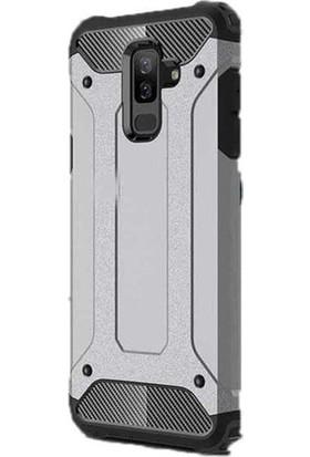 Kaltel Gsm Samsung Galaxy J8 Ultra Lüx Çift Katmanlı Darbe Emici Crash Kılıf + Cam Ekran Koruyucu Gümüş