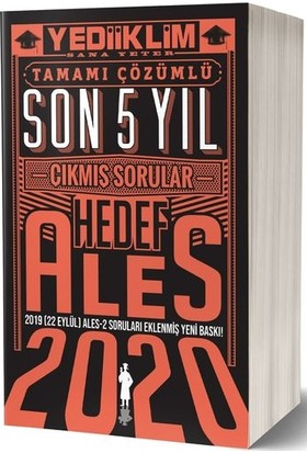 Yediiklim Yayınları 2020 Ales Son 5 Yıl Tamamı Çözümlü Çıkmış Sorular(22 Eylül Ales-2 Ekli)