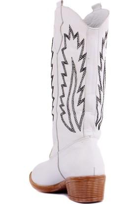 Sail Laker's Beyaz Deri Nakışlı Kadın Çizme