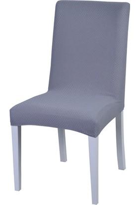 Latuda Likralı Yıkanabilir Sandalye Kılıfı Gri 6'lı
