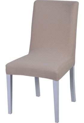 Latuda Likralı Yıkanabilir Sandalye Kılıfı Vizon 6'lı