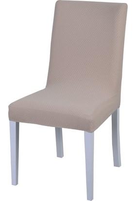 Latuda Likralı Yıkanabilir Sandalye Kılıfı Krem 4'lü
