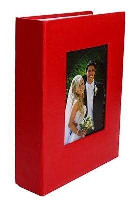 Nobbystar 10 x 15 Ebatında 200'lük Pencereli Deri Fotoğraf Albümü Kırmızı