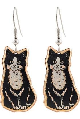 Lotis El Yapımı Bakır Küpe Siyah Beyaz Kedi