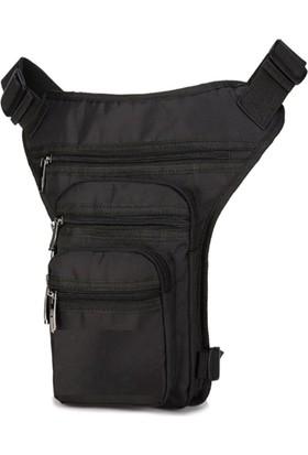 Carneil Motosiklet Bel ve Bacak Bağlamalı Çanta 5 Gözlü Fermuarlı Su Geçirmez Parlak Kumaş Siyah