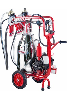Kurtsan Cyk Çift Sağım Krom Güğüm Yağlı Pompalı Inek Süt Sağma Makinası 40 Lt