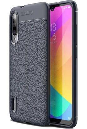 Teleplus Xiaomi Mi9 Lite Deri Dokulu Silikon Kılıf Lacivert