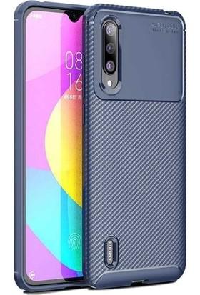 Teleplus Xiaomi Mi9 Lite Negro Karbon Desenli Silikon Kılıf Lacivert + Nano Ekran Koruyucu