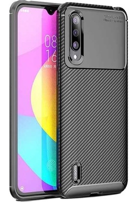 Teleplus Xiaomi Mi9 Lite Negro Karbon Desenli Silikon Kılıf Siyah + Nano Ekran Koruyucu